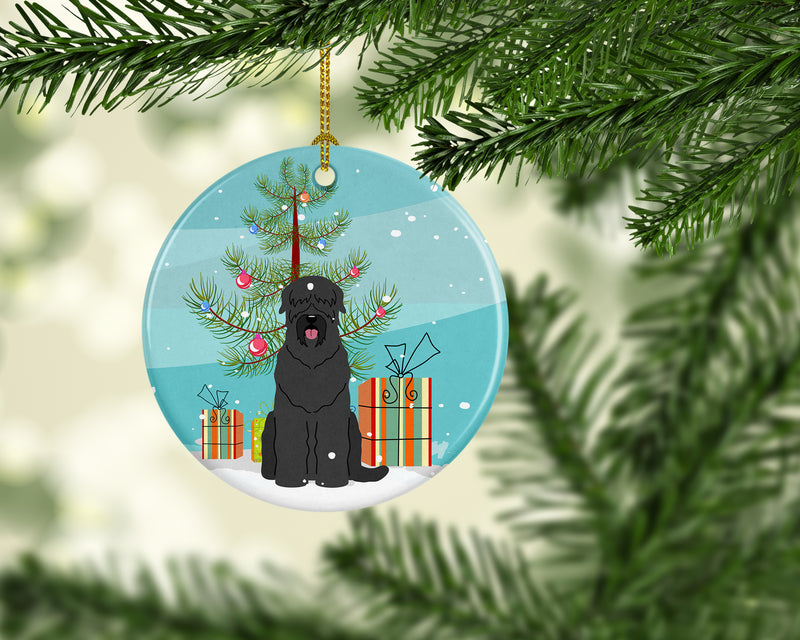 Buy this Merry Christmas Tree Black Russian Terrier Ceramic Ornament BB4151CO1