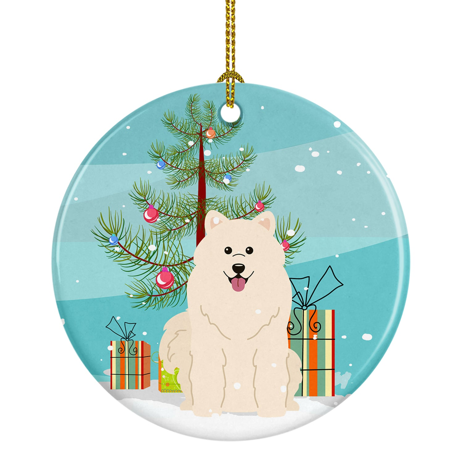 Buy this Merry Christmas Tree Samoyed Ceramic Ornament BB4155CO1