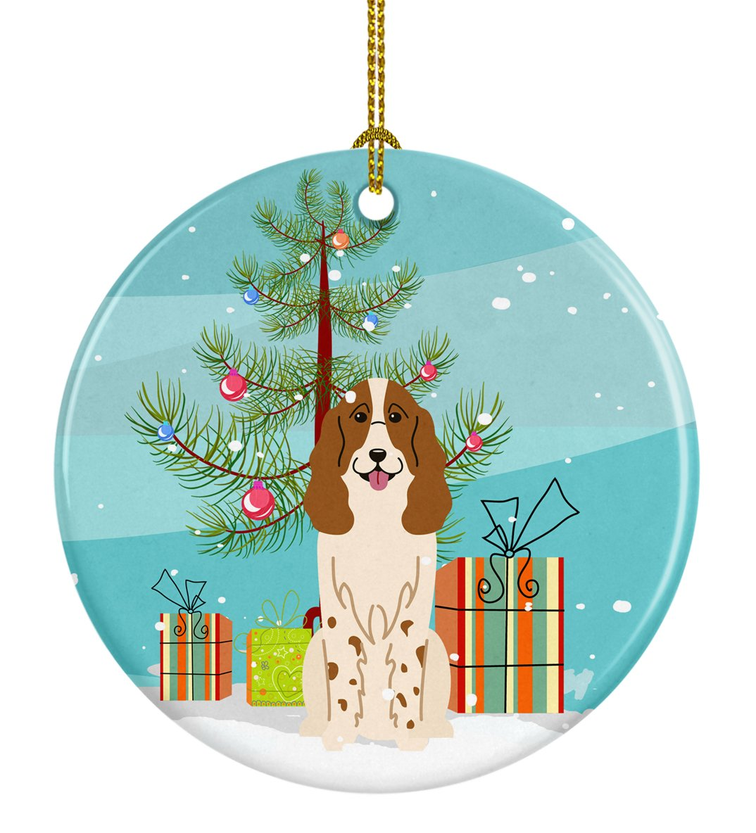 Merry Christmas Tree Russian Spaniel Ceramic Ornament BB4156CO1 by Caroline's Treasures