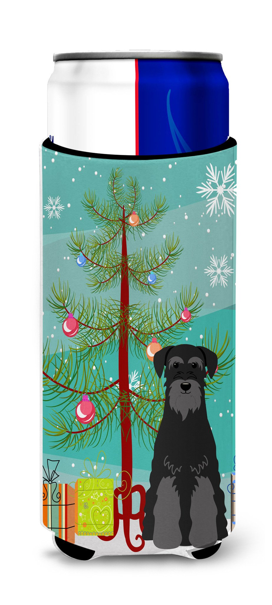 Merry Christmas Tree Standard Schnauzer Black Michelob Ultra Hugger for slim cans BB4157MUK by Caroline's Treasures