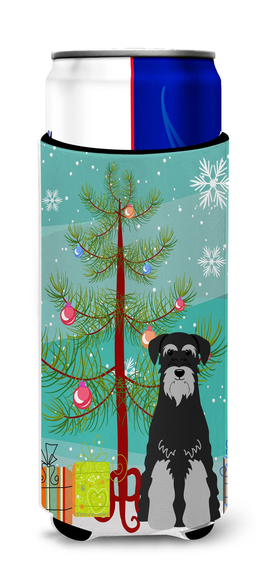 Merry Christmas Tree Standard Schnauzer Black Grey Michelob Ultra Hugger for slim cans BB4159MUK by Caroline's Treasures