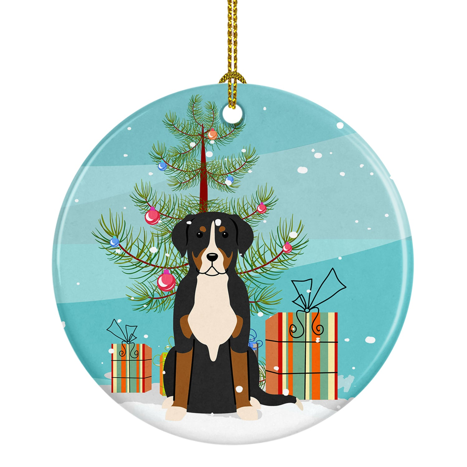 Merry Christmas Tree Greater Swiss Mountain Dog Ceramic Ornament BB4162CO1 by Caroline's Treasures