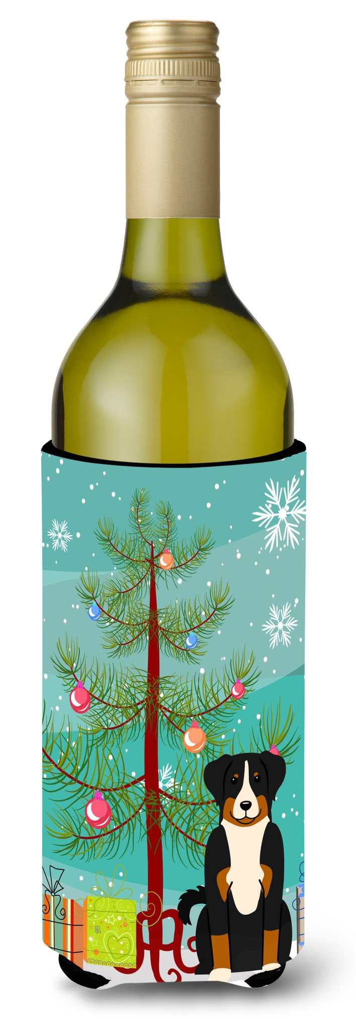 Merry Christmas Tree Appenzeller Sennenhund Wine Bottle Beverge Insulator Hugger BB4168LITERK by Caroline's Treasures