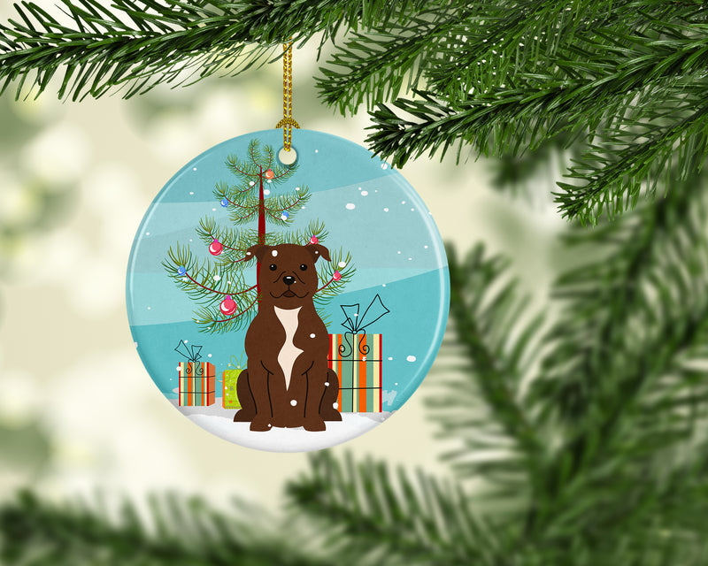 Merry Christmas Tree Staffordshire Bull Terrier Chocolate Ceramic Ornament BB4173CO1 by Caroline's Treasures