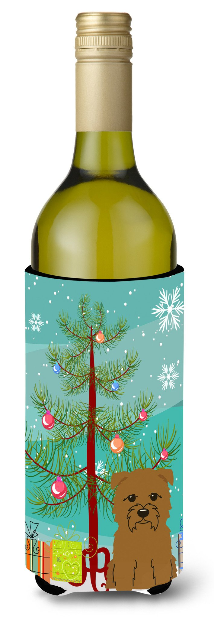 Buy this Merry Christmas Tree Glen of Imal Tan Wine Bottle Beverge Insulator Hugger BB4185LITERK