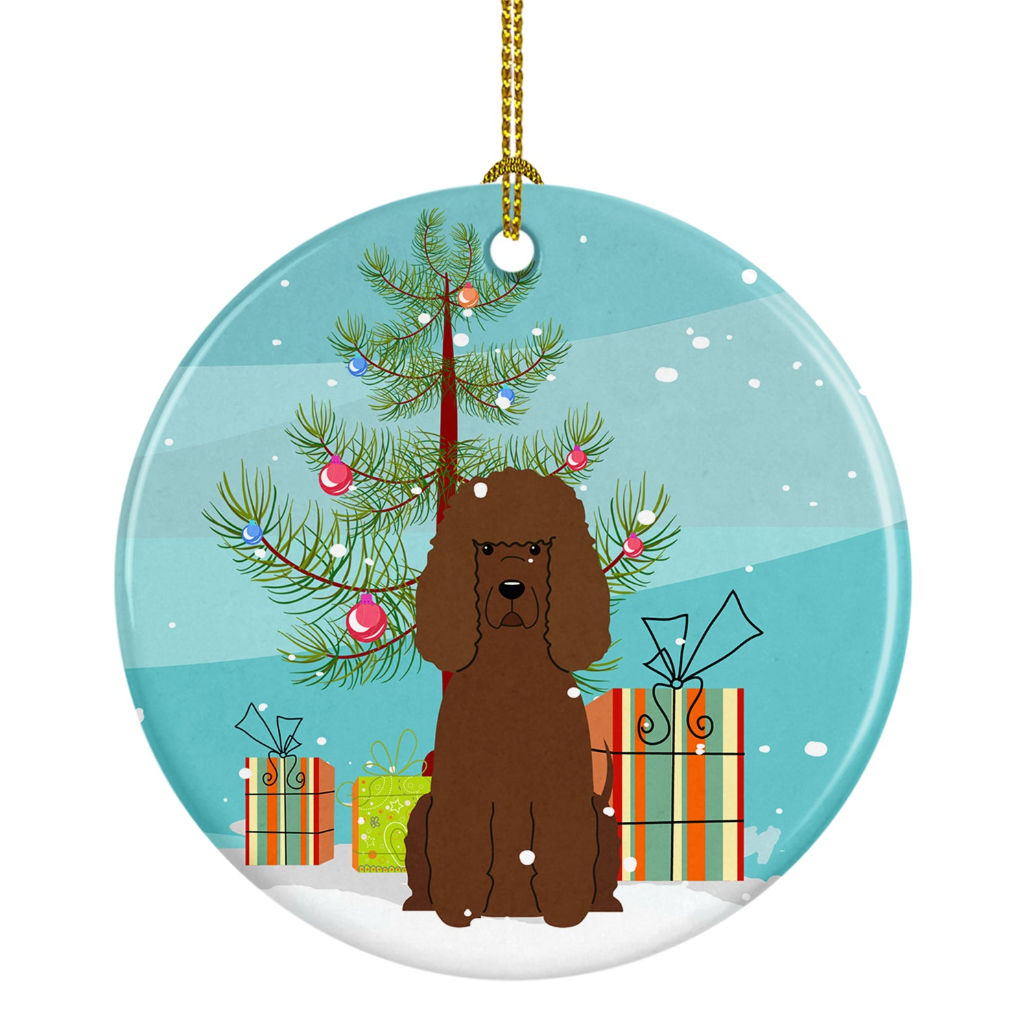 Buy this Merry Christmas Tree Irish Water Spaniel Ceramic Ornament BB4188CO1