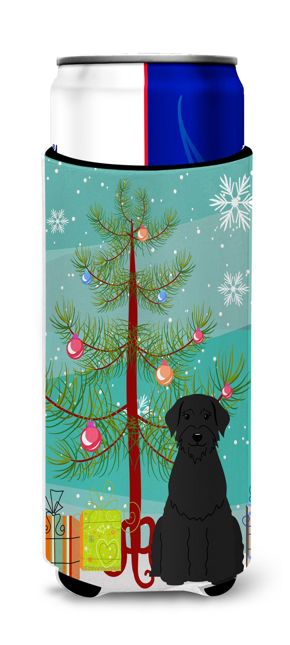 Merry Christmas Tree Giant Schnauzer Michelob Ultra Hugger for slim cans BB4191MUK by Caroline's Treasures