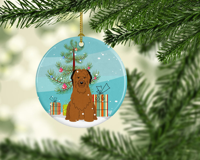 Buy this Merry Christmas Tree Briard Brown Ceramic Ornament BB4207CO1