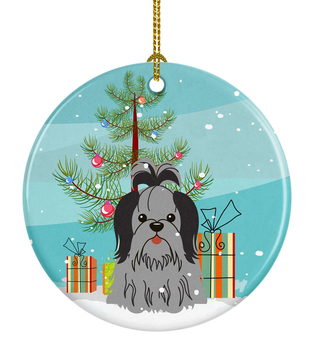 Buy this Merry Christmas Tree Shih Tzu Black Silver Ceramic Ornament BB4214CO1