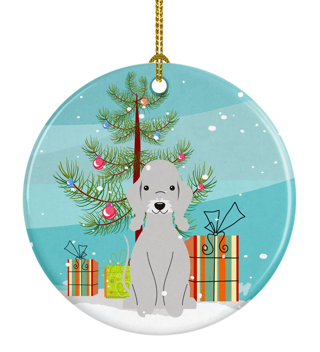 Buy this Merry Christmas Tree Bedlington Terrier Blue Ceramic Ornament BB4215CO1