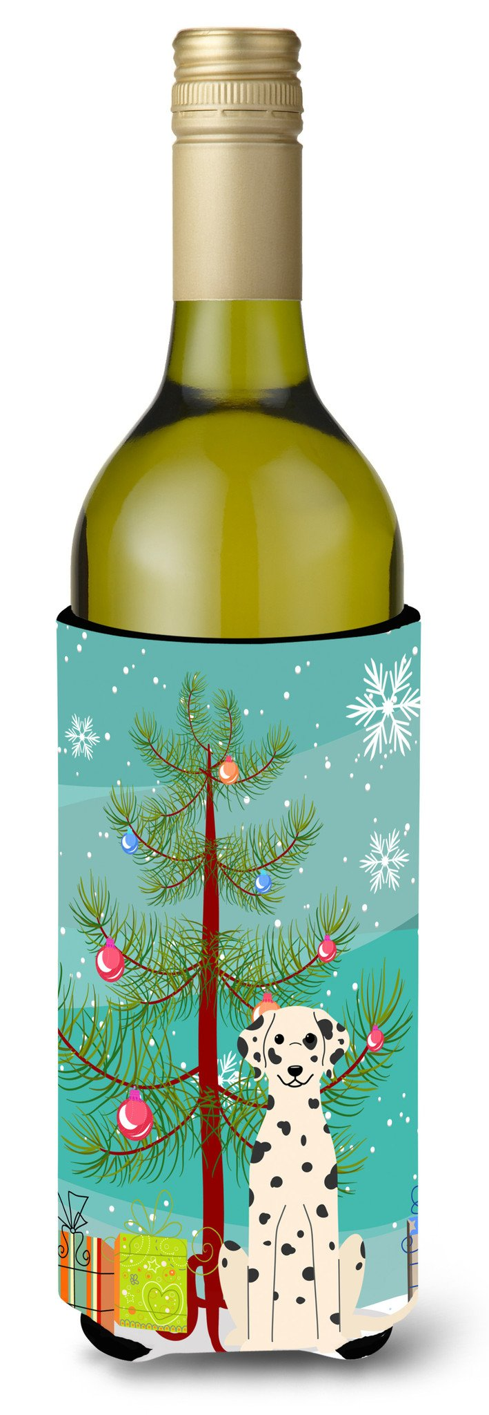Merry Christmas Tree Dalmatian Wine Bottle Beverge Insulator Hugger BB4222LITERK by Caroline's Treasures