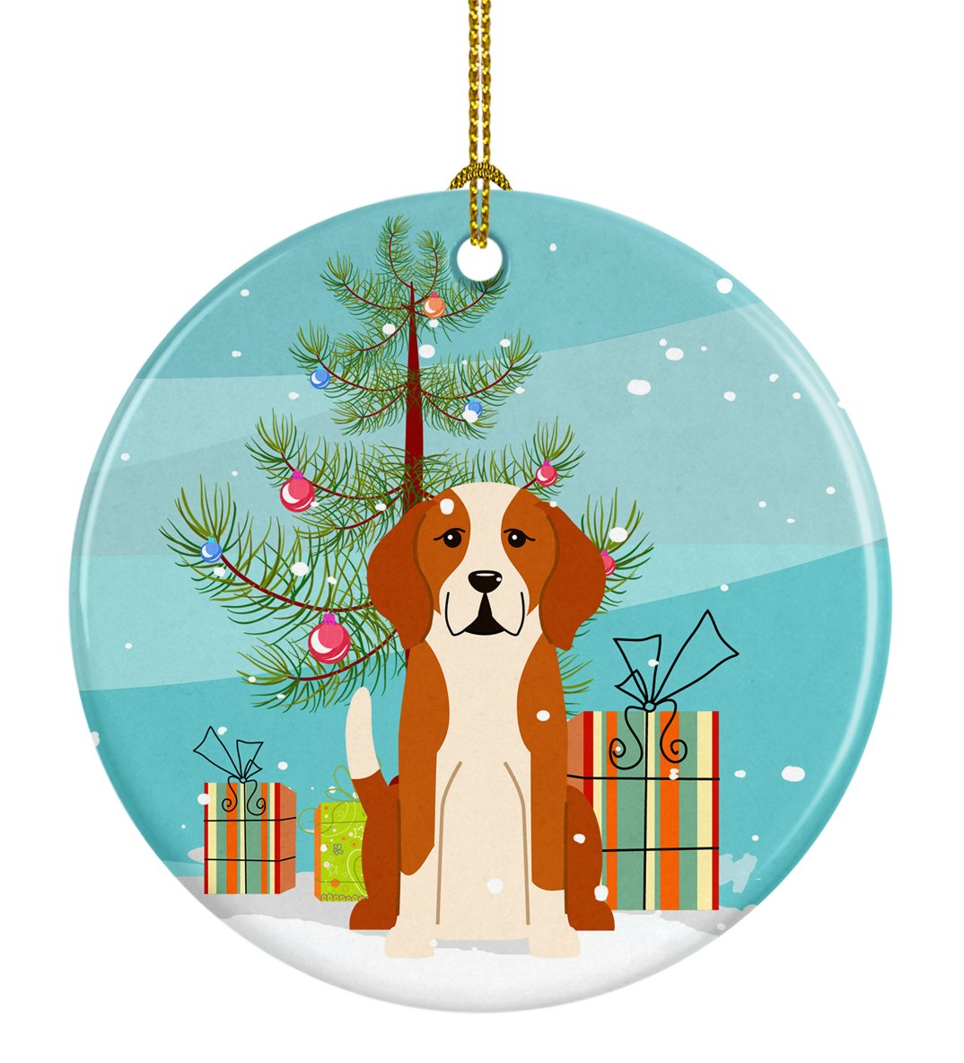 Merry Christmas Tree English Foxhound Ceramic Ornament BB4235CO1 by Caroline's Treasures