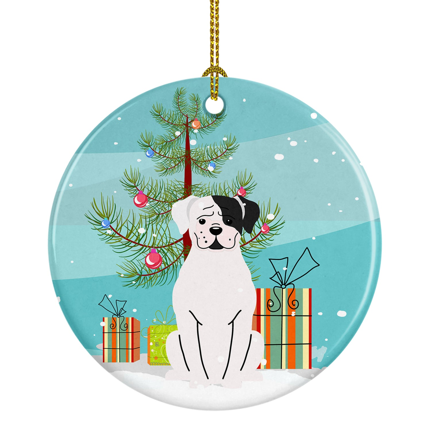 Buy this Merry Christmas Tree White Boxer Cooper Ceramic Ornament BB4239CO1