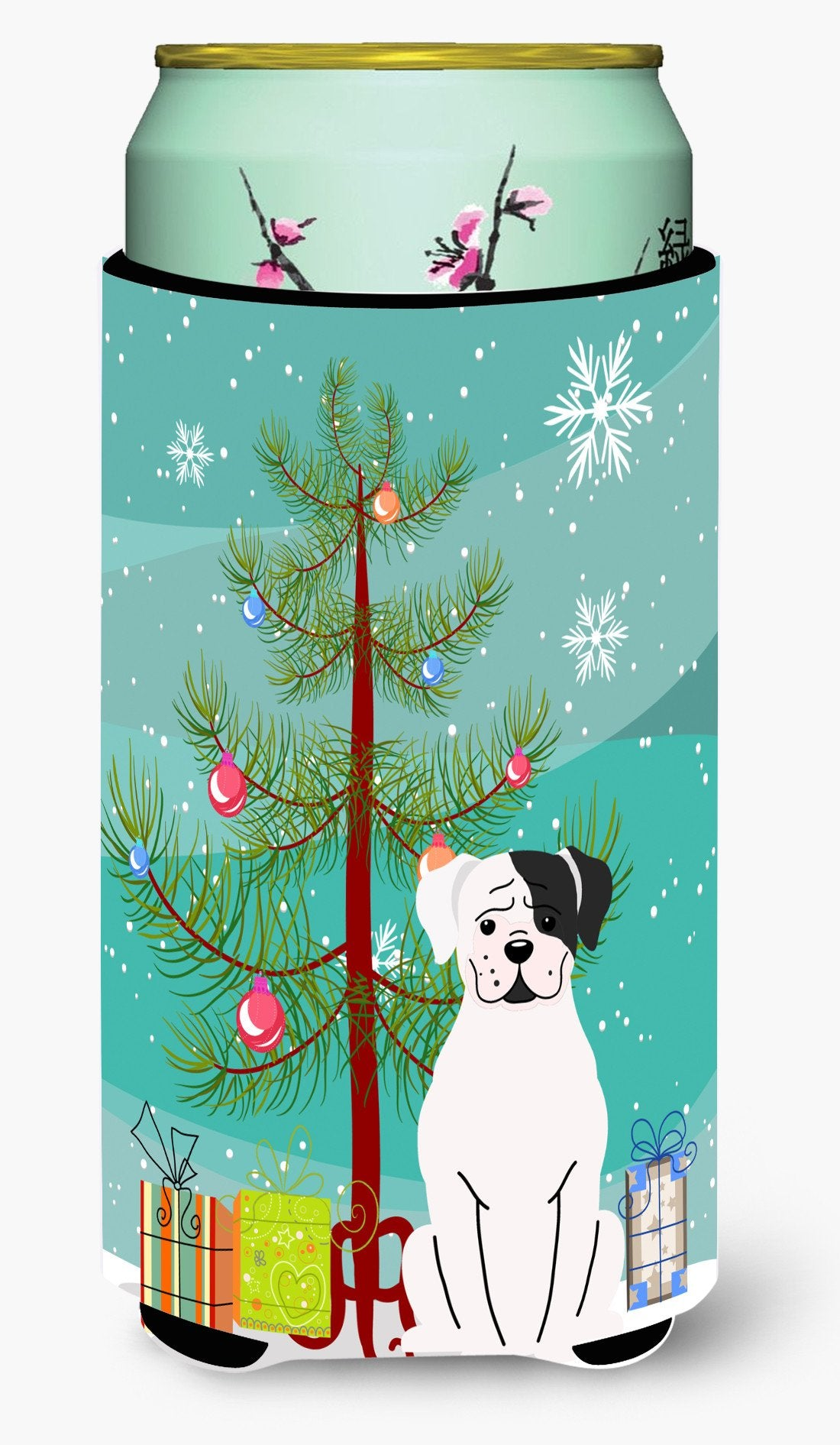 Merry Christmas Tree White Boxer Cooper Tall Boy Beverage Insulator Hugger BB4239TBC by Caroline's Treasures
