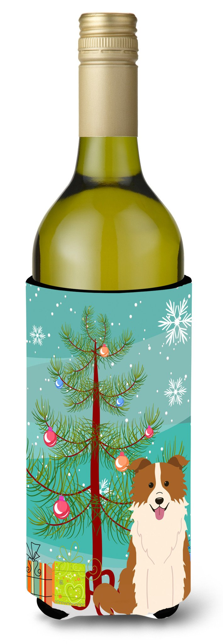 Merry Christmas Tree Border Collie Red White Wine Bottle Beverge Insulator Hugger BB4244LITERK by Caroline's Treasures