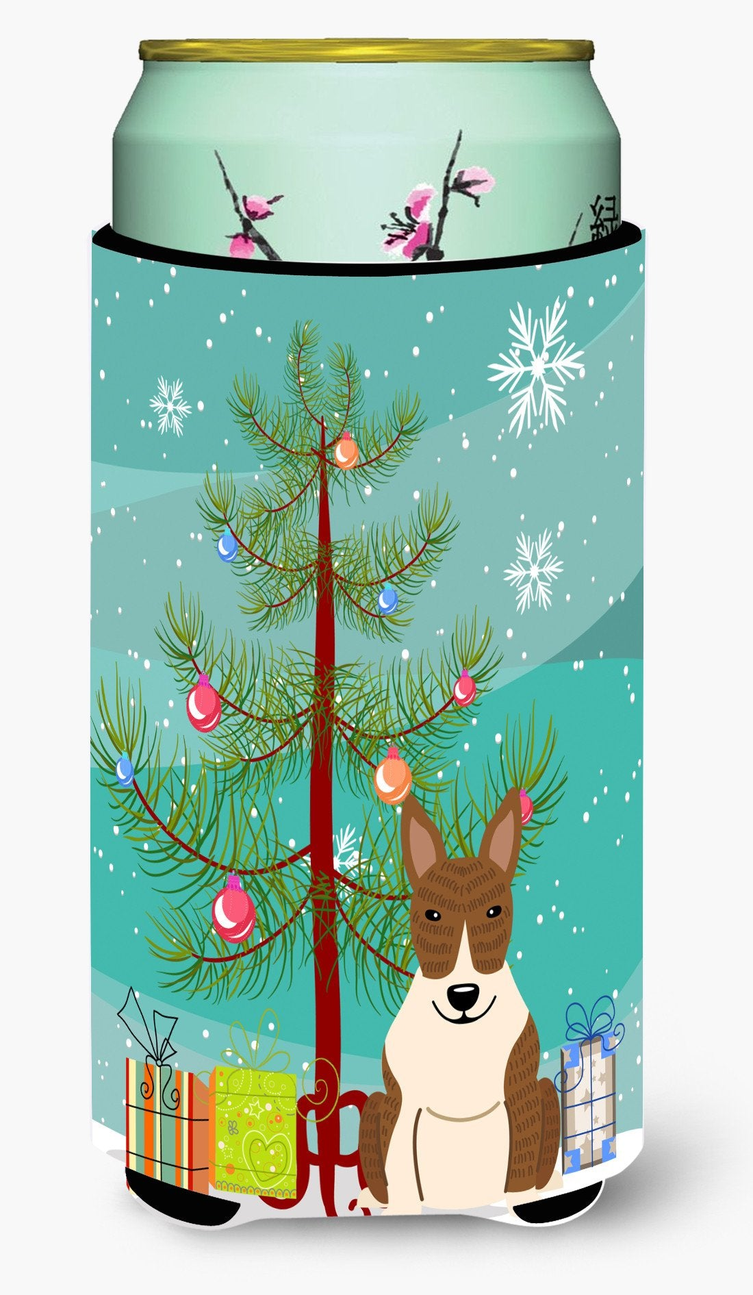 Merry Christmas Tree Bull Terrier Brindle Tall Boy Beverage Insulator Hugger BB4262TBC by Caroline's Treasures