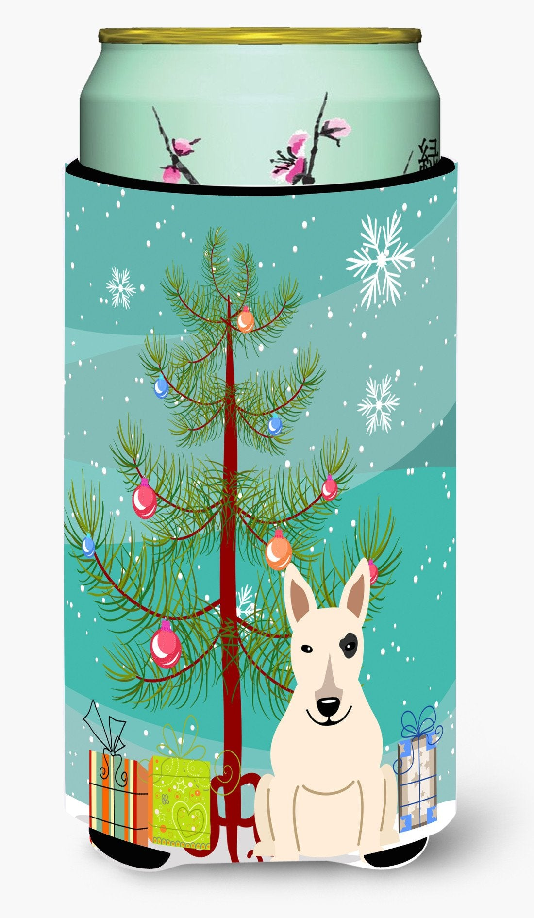 Merry Christmas Tree Bull Terrier White Tall Boy Beverage Insulator Hugger BB4263TBC by Caroline's Treasures
