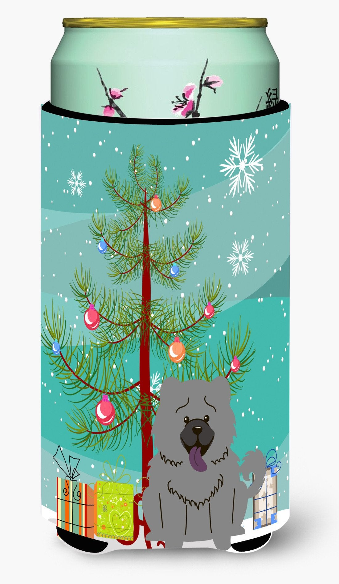 Merry Christmas Tree Chow Chow Blue Tall Boy Beverage Insulator Hugger BB4264TBC by Caroline's Treasures