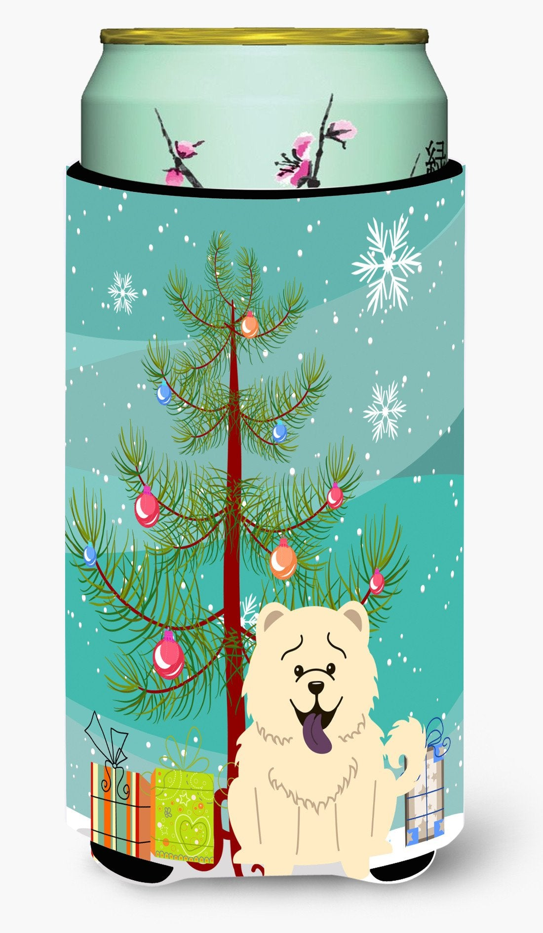 Merry Christmas Tree Chow Chow White Tall Boy Beverage Insulator Hugger BB4265TBC by Caroline's Treasures