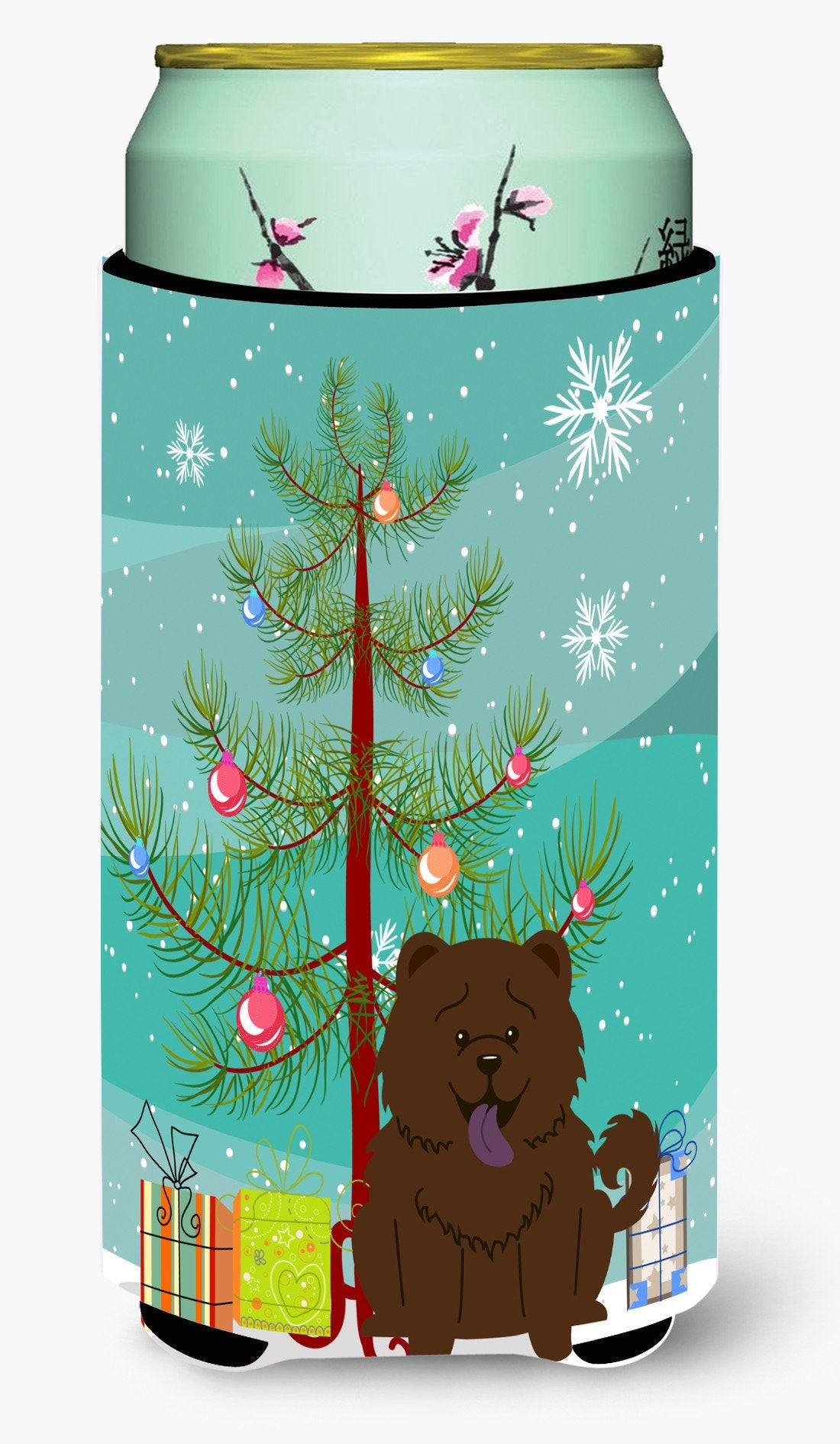 Merry Christmas Tree Chow Chow Chocolate Tall Boy Beverage Insulator Hugger BB4266TBC by Caroline's Treasures