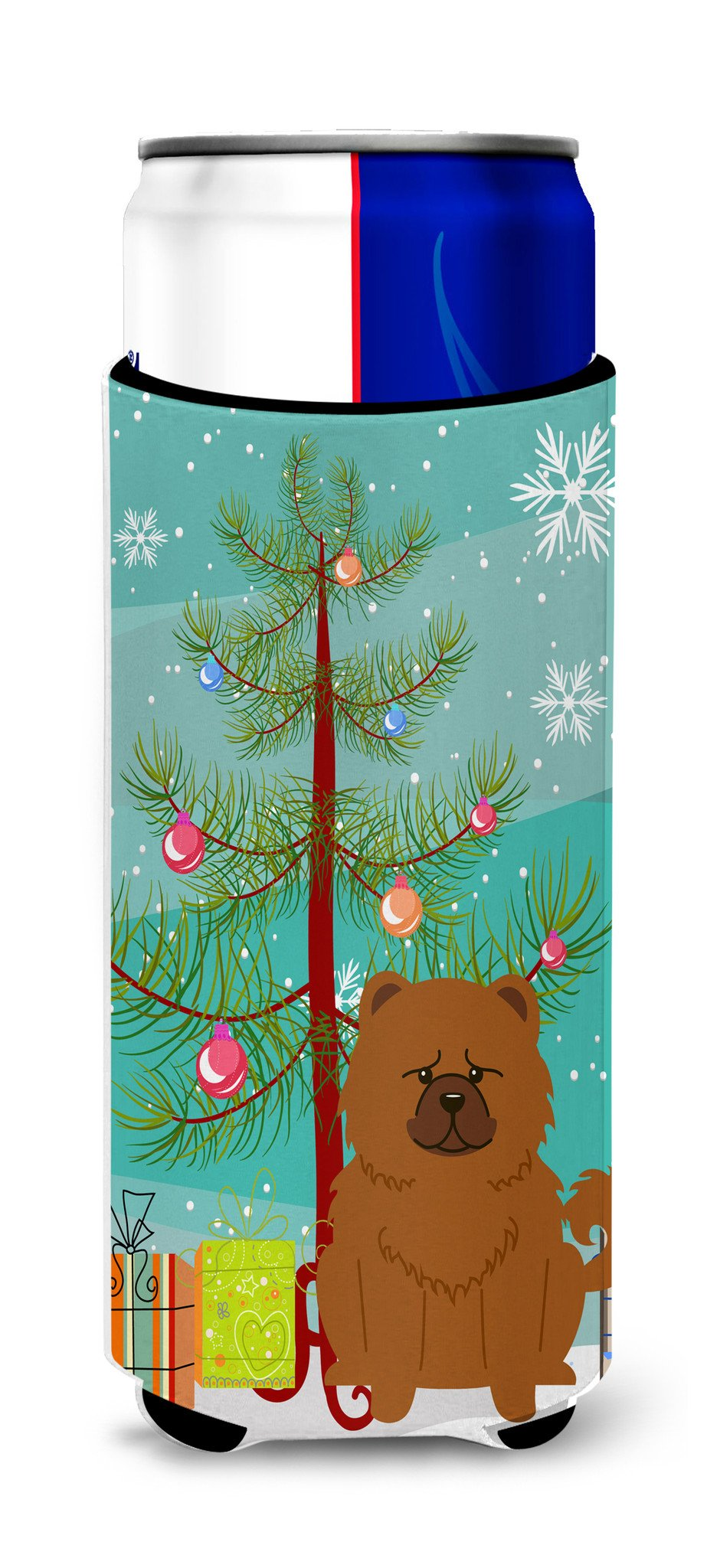 Merry Christmas Tree Chow Chow Red Michelob Ultra Hugger for slim cans BB4267MUK by Caroline's Treasures
