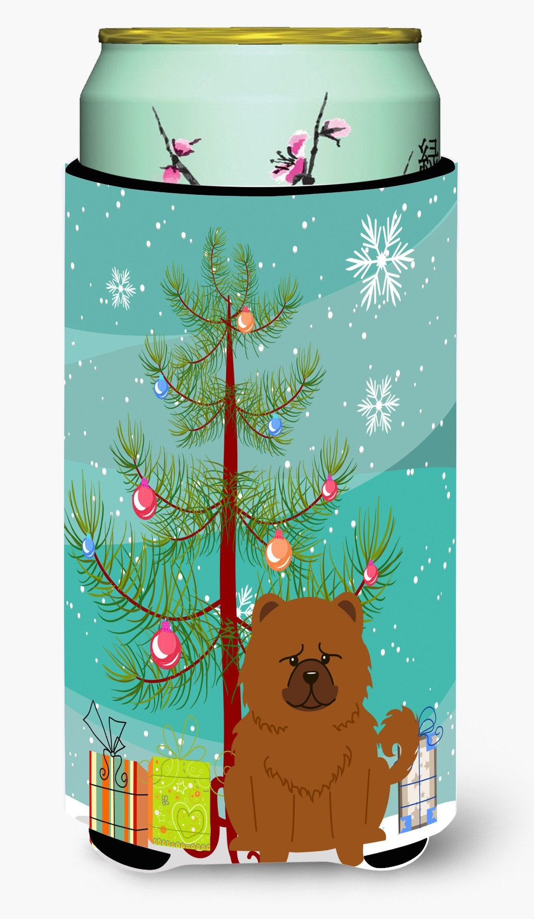 Merry Christmas Tree Chow Chow Red Tall Boy Beverage Insulator Hugger BB4267TBC by Caroline's Treasures