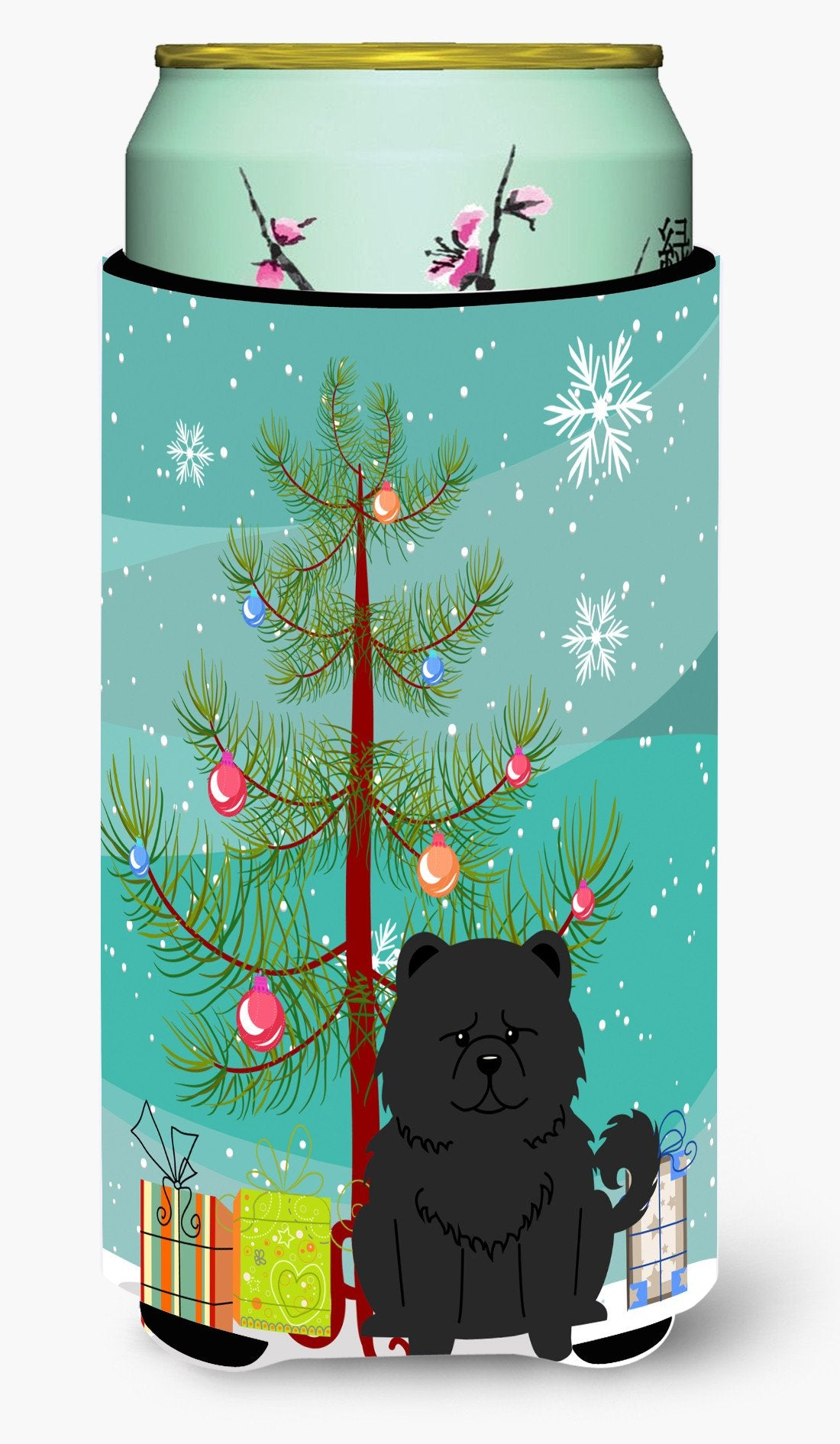 Merry Christmas Tree Chow Chow Black Tall Boy Beverage Insulator Hugger BB4268TBC by Caroline's Treasures