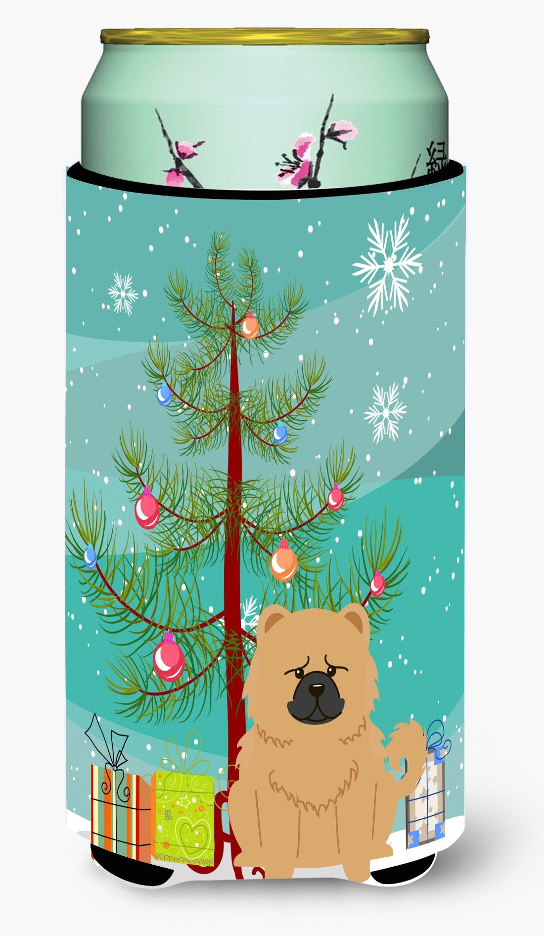Merry Christmas Tree Chow Chow Cream Tall Boy Beverage Insulator Hugger BB4269TBC by Caroline's Treasures