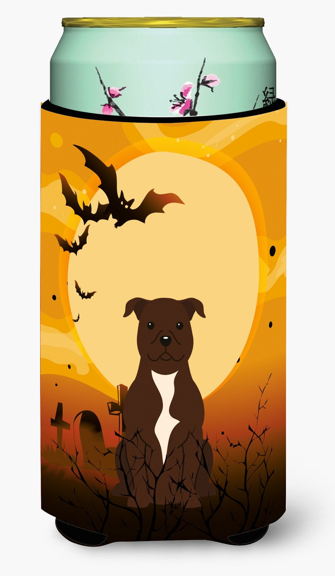 Halloween Staffordshire Bull Terrier Chocolate Tall Boy Beverage Insulator Hugger BB4314TBC by Caroline's Treasures