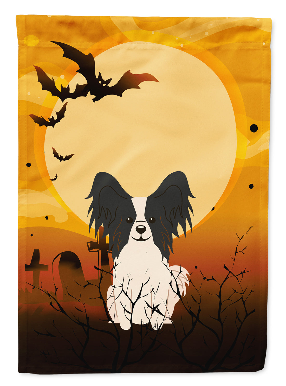 Buy this Halloween Papillon Black White Flag Garden Size BB4342GF