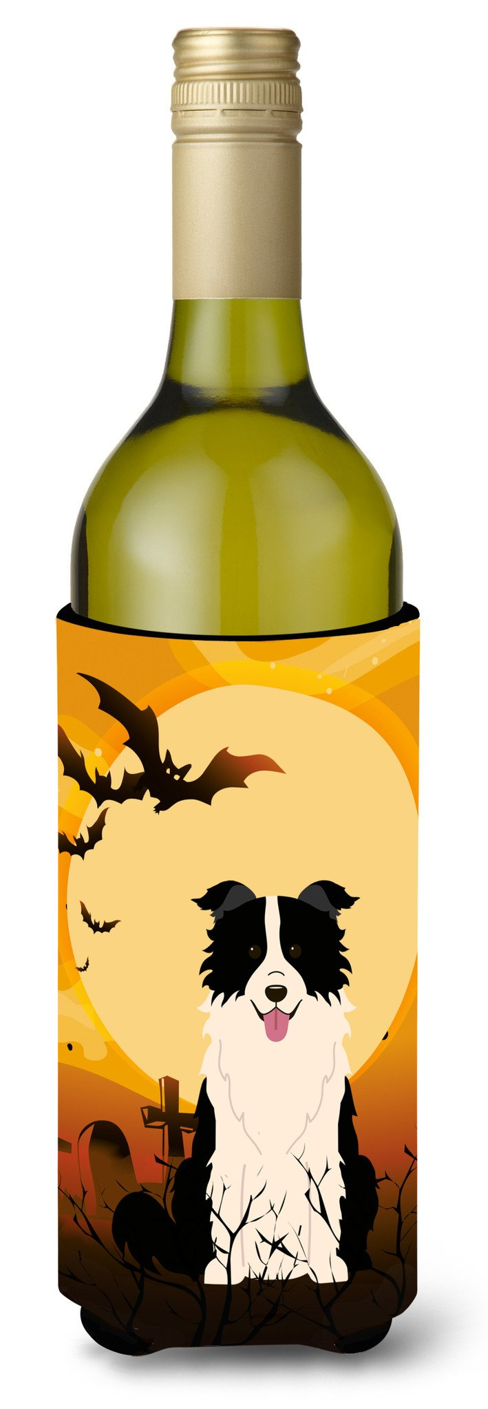 Halloween Border Collie Black White Wine Bottle Beverge Insulator Hugger BB4384LITERK by Caroline's Treasures
