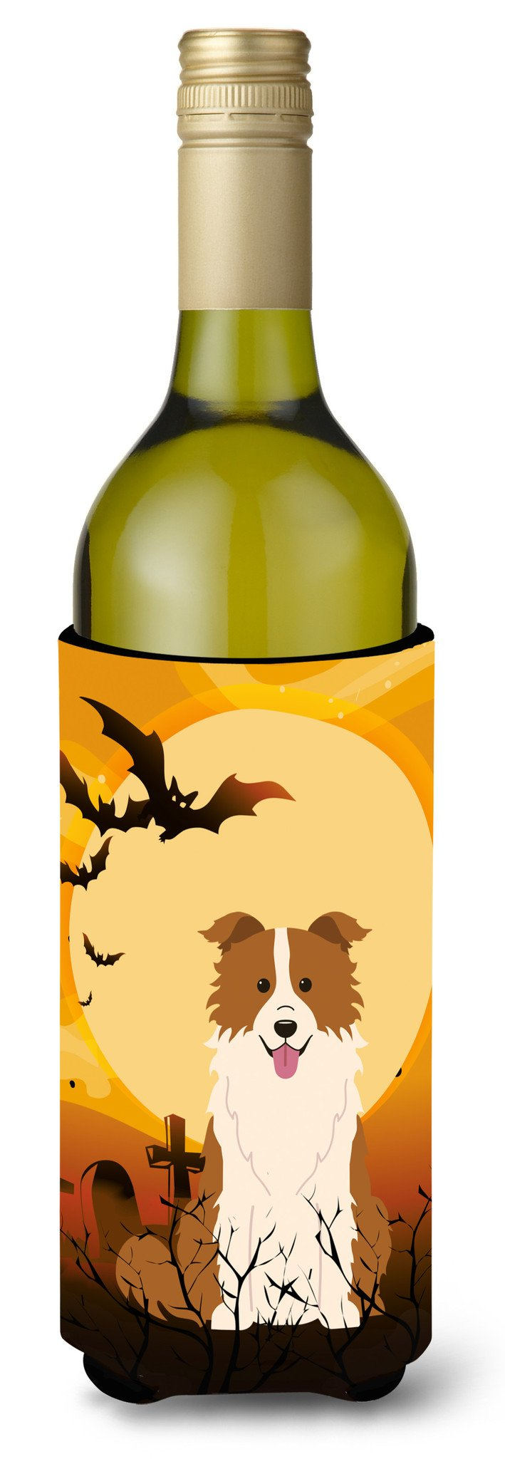 Halloween Border Collie Red White Wine Bottle Beverge Insulator Hugger BB4385LITERK by Caroline's Treasures