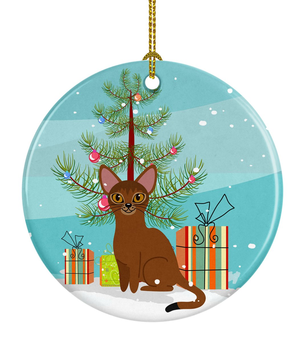 Buy this Abyssinian Cat Merry Christmas Tree Ceramic Ornament BB4411CO1