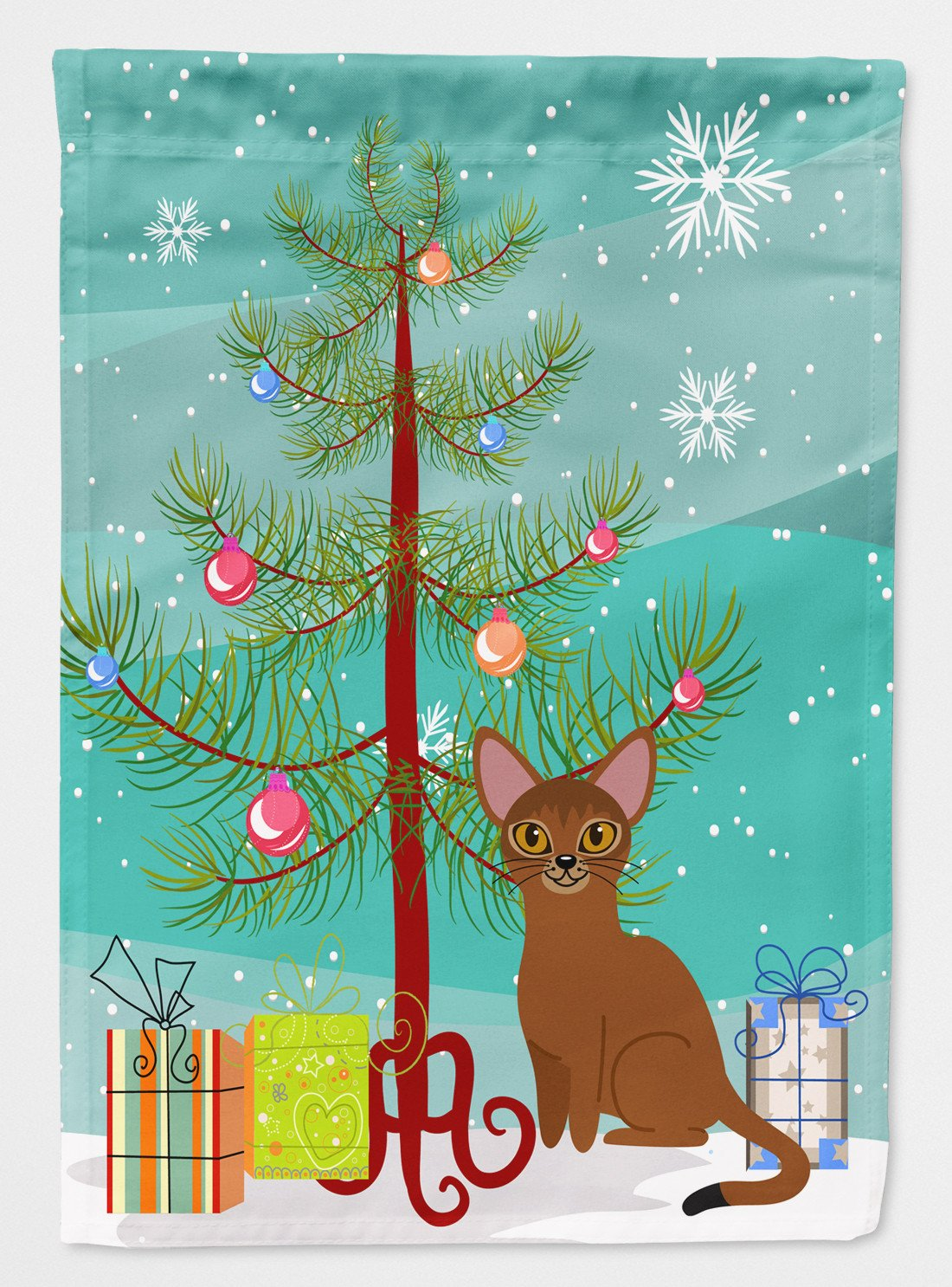 Buy this Abyssinian Cat Merry Christmas Tree Flag Garden Size BB4411GF
