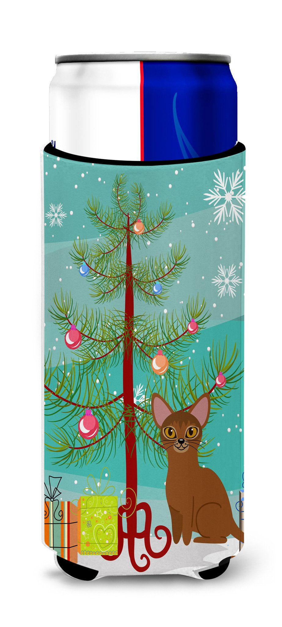 Buy this Abyssinian Cat Merry Christmas Tree Michelob Ultra Hugger for slim cans BB4411MUK