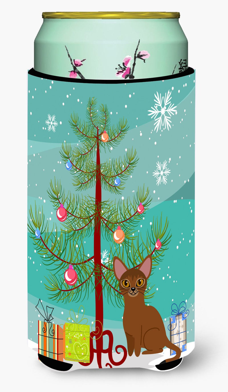 Buy this Abyssinian Cat Merry Christmas Tree Tall Boy Beverage Insulator Hugger BB4411TBC