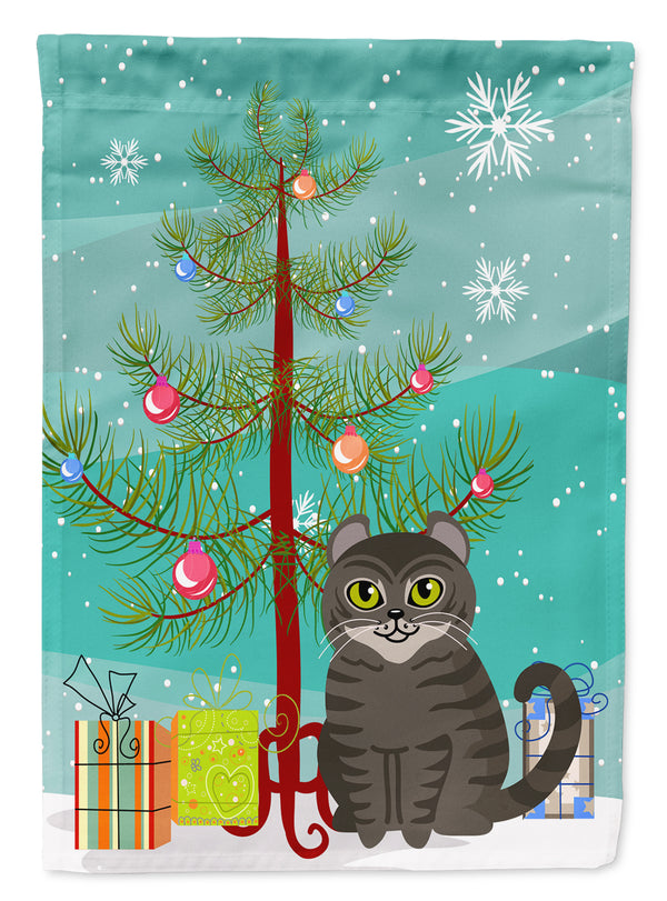 American Curl Cat Merry Christmas Tree Flag Garden Size
