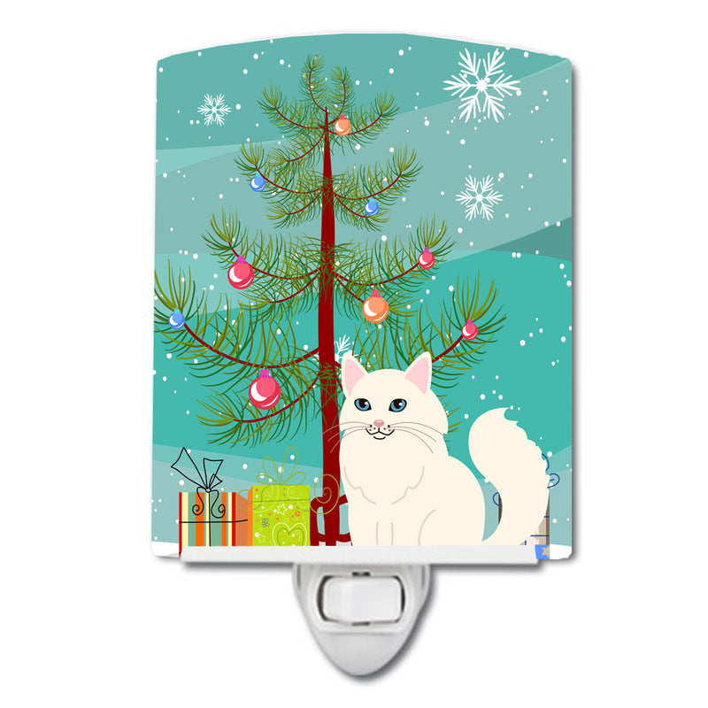 Buy this Turkish Angora Cat Merry Christmas Tree Ceramic Night Light BB4413CNL
