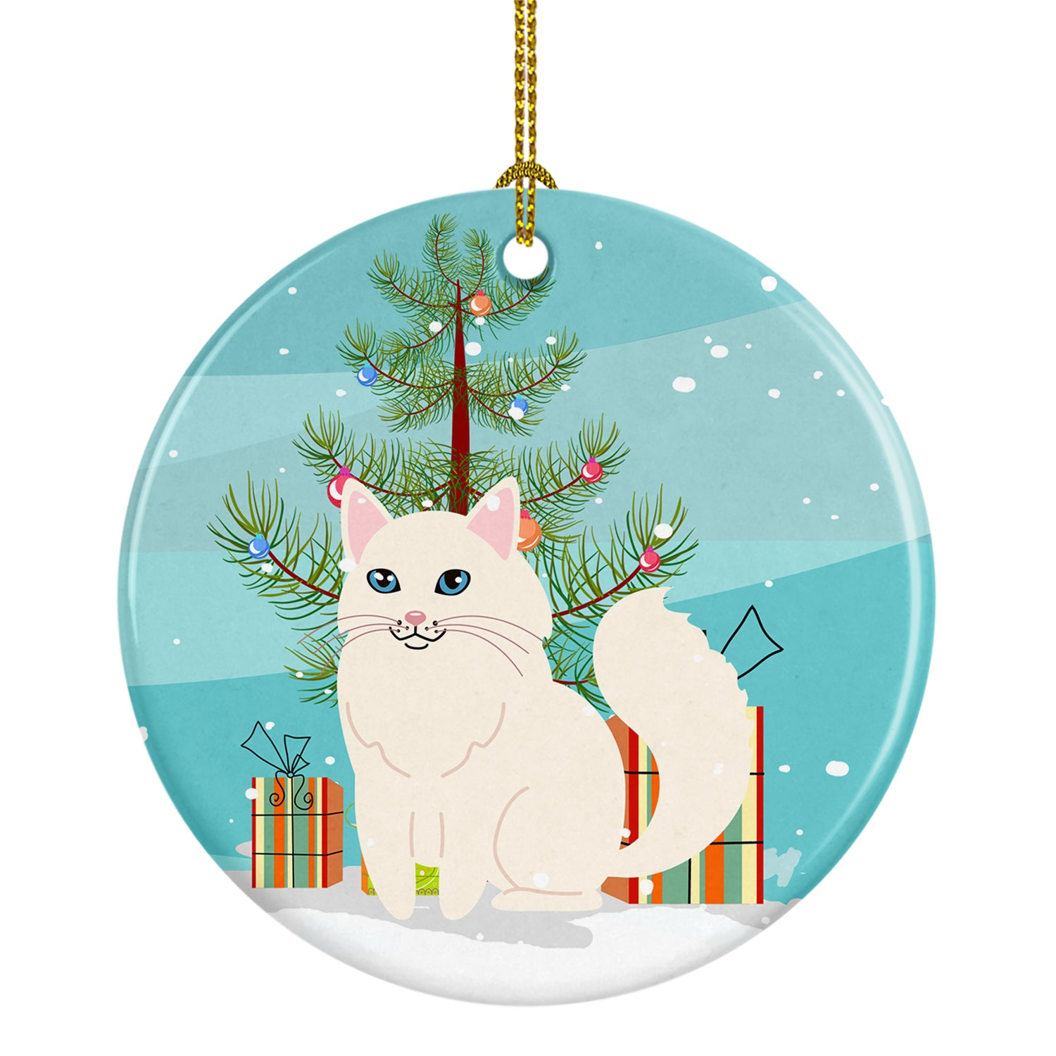 Buy this Turkish Angora Cat Merry Christmas Tree Ceramic Ornament BB4413CO1