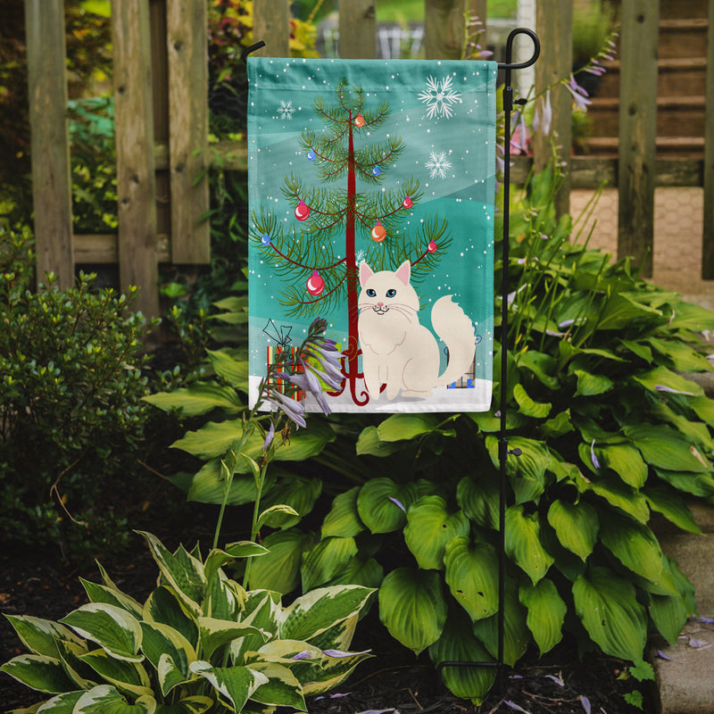Buy this Turkish Angora Cat Merry Christmas Tree Flag Garden Size BB4413GF