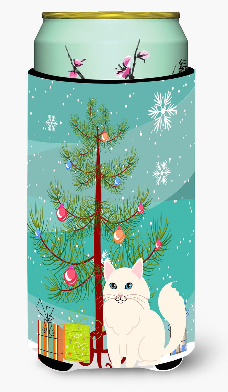 Buy this Turkish Angora Cat Merry Christmas Tree Tall Boy Beverage Insulator Hugger BB4413TBC