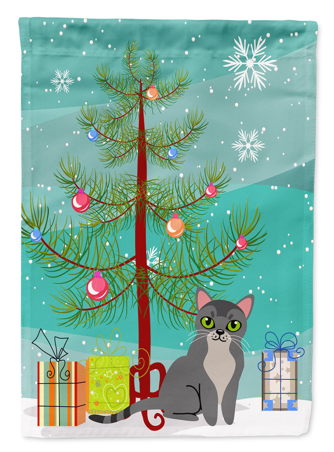 Buy this Asian Cat Merry Christmas Tree Flag Garden Size BB4414GF