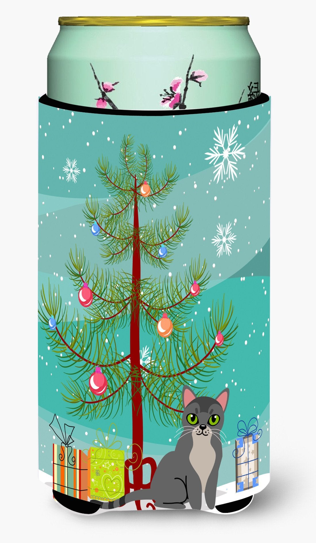 Buy this Asian Cat Merry Christmas Tree Tall Boy Beverage Insulator Hugger BB4414TBC