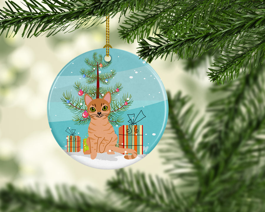 Buy this Australian Mist Cat Merry Christmas Tree Ceramic Ornament BB4415CO1