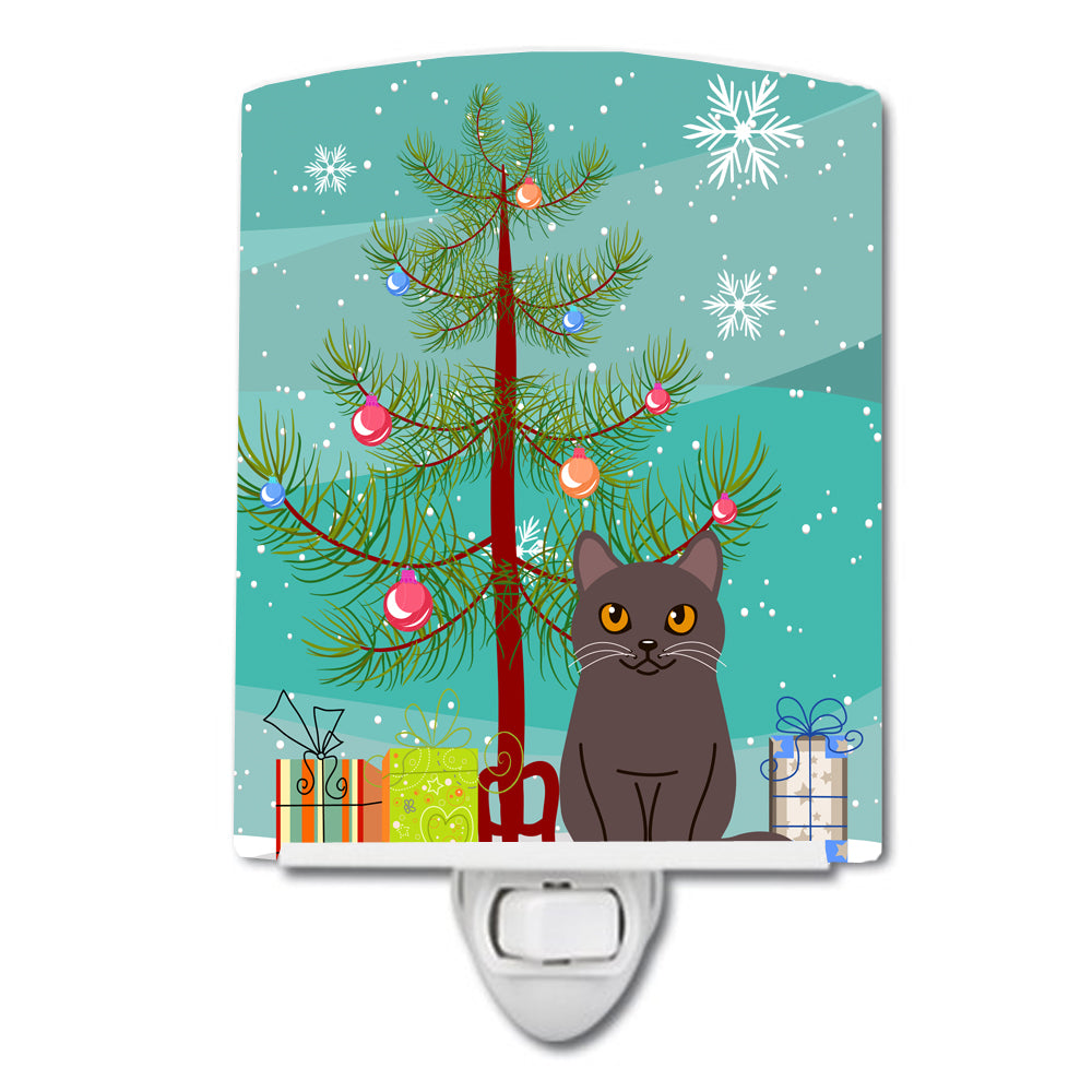 Chartreux Cat Merry Christmas Tree Ceramic Night Light BB4418CNL by Caroline's Treasures