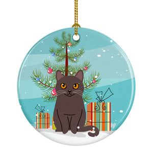 Buy this Chartreux Cat Merry Christmas Tree Ceramic Ornament BB4418CO1