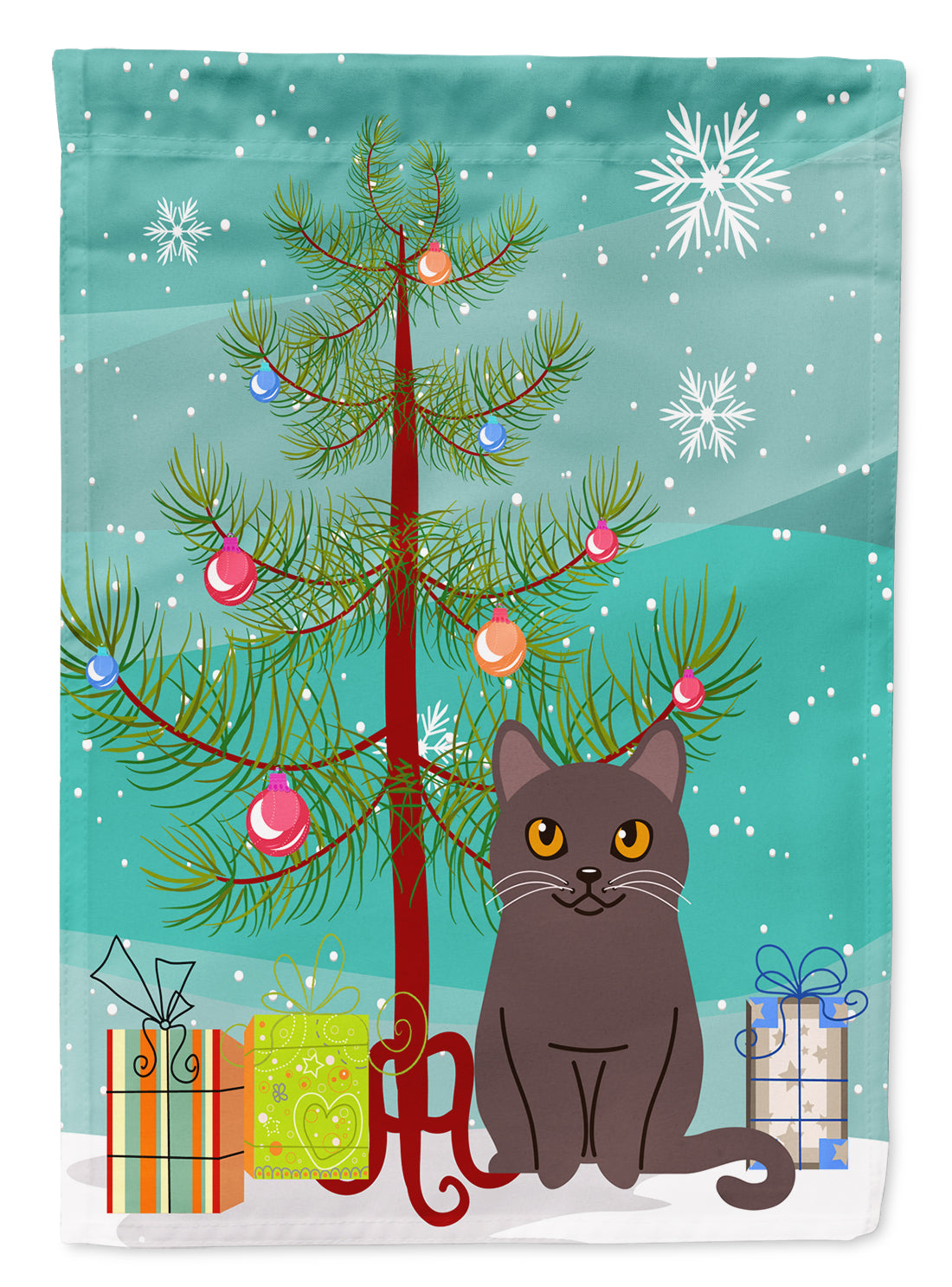 Chartreux Cat Merry Christmas Tree Flag Garden Size BB4418GF by Caroline's Treasures