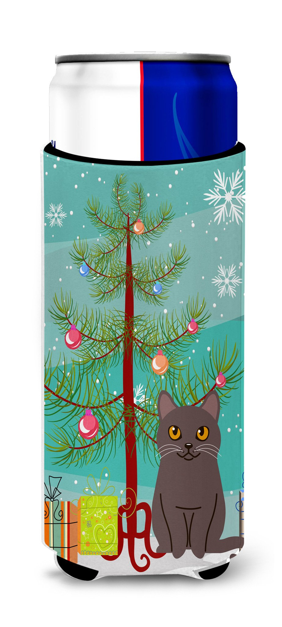 Chartreux Cat Merry Christmas Tree Michelob Ultra Hugger for slim cans BB4418MUK by Caroline's Treasures