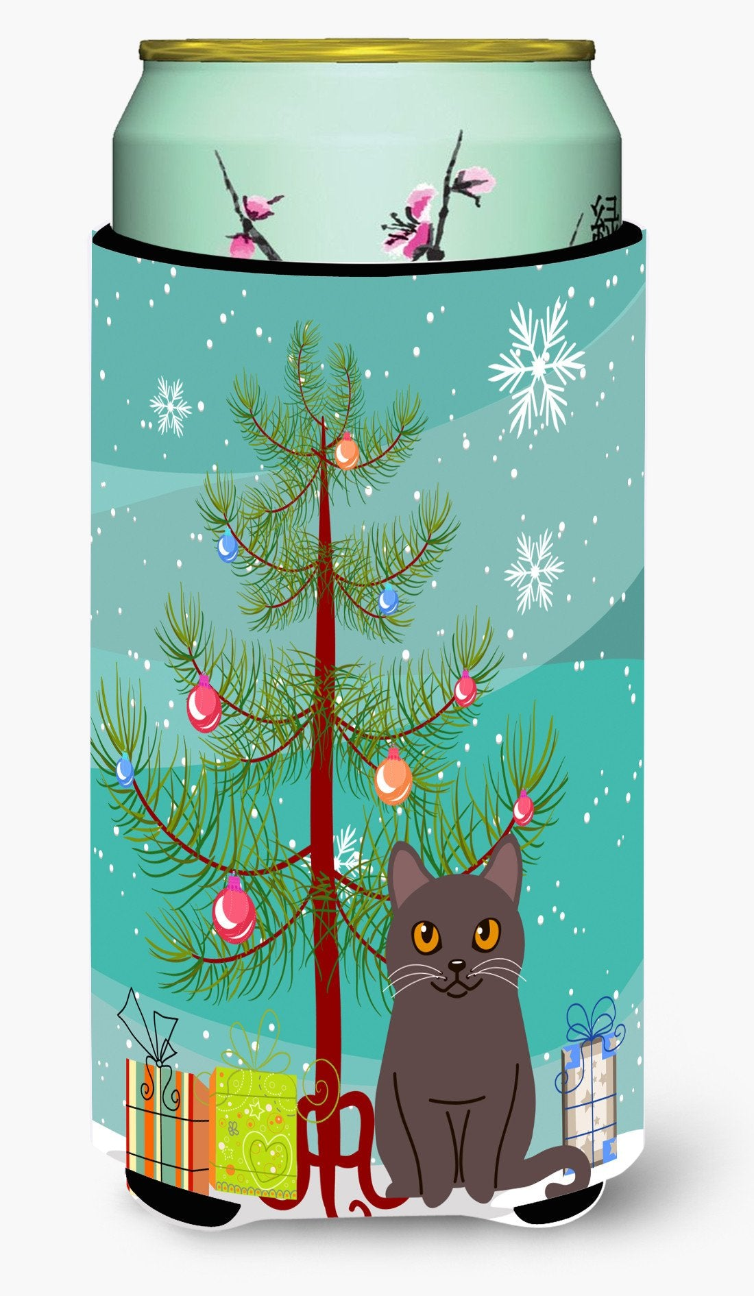 Chartreux Cat Merry Christmas Tree Tall Boy Beverage Insulator Hugger BB4418TBC by Caroline's Treasures