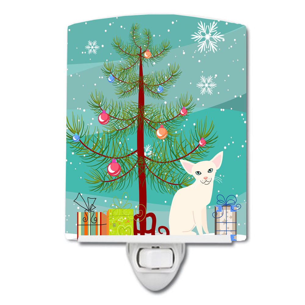 Foreign White Cat Merry Christmas Tree Ceramic Night Light BB4420CNL by Caroline's Treasures